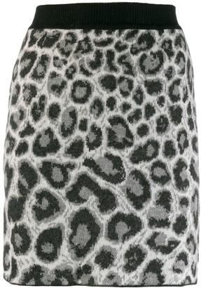 Alberta Ferretti leopard print knit skirt