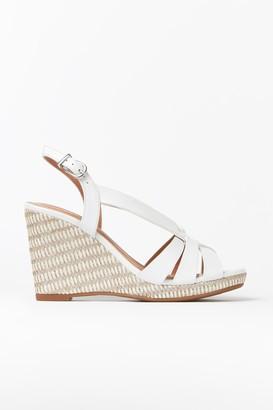 Wallis **White Strap Textured Wedge Heel Sandal