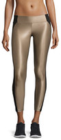 Koral Activewear Helix Shiny Colorblock Athletic Leggings, Camel/Black