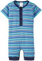 Zutano Stripe Henley Bodysuit (Baby) - Periwinkle - 12 Months