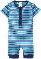 Zutano Stripe Henley Bodysuit (Baby) - Periwinkle - 6 Months