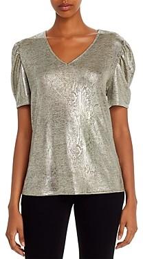 Kim & Cami Metallic Snakeskin Print Puff-Sleeve Top