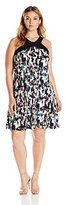 NY Collection Women's Plus Size Printed Sleeveless Cut Out Neck a Line Dress