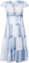 Lemlem pleated trim flared dress - women - Cotton - S