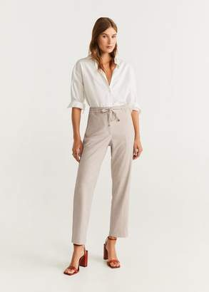 MANGO Drawstring waist straight pants sand - XXS - Women