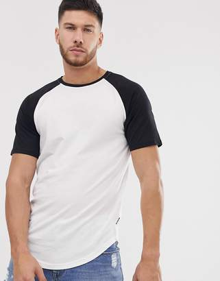 ONLY & SONS raglan sleeve t-shirt with curve hem-White