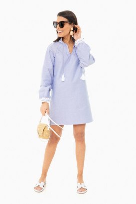 Sail to Sable Blue Ruffle Neck Dress