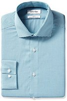 Calvin Klein Men's Slim Fit Non Iron Textured Gingham Dress Shirt