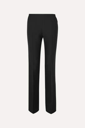 The Row Ladan Wool And Silk-blend Straight-leg Pants - Black