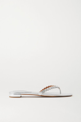 Aquazzura Tequila Crystal-embellished Metallic Leather Flip Flops - Silver