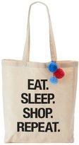 "Tricoastal Design Tri-Coastal Design ""Eat. Sleep. Shop. Repeat."" Canvas Tote"