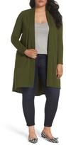 Bobeau Plus Size Women's High/low Long Fleece Cardigan
