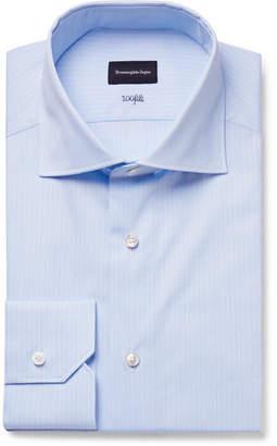Ermenegildo Zegna Light-Blue Slim-Fit 100fili Cutaway-Collar Pinstriped Cotton-Poplin Shirt