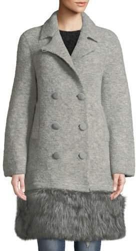 Emporio Armani Double-Breasted Faux-Fur Hem Coat