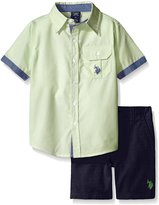 U.S. Polo Assn. Little Boys 2 Piece Pin Stripe Short Sleeve Shirt and Twill Short