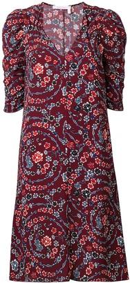 See by Chloe Floral Print Ruched Sleeves Dress