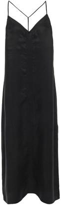 Frame Embroidered Washed Cupro-blend Midi Slip Dress
