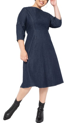 ELOQUII Lantern Sleeve Denim Dress
