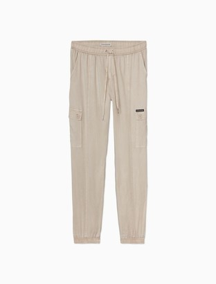 Calvin Klein Solid Twill Drawstring Cargo Pocket Joggers