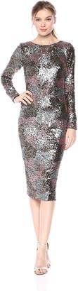 Dress the Population Women's Brenna Long Sleeve Scoop Back Midi Dress