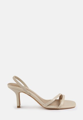 Missguided Nude Slingback Two Strap Low Heels
