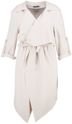 boohoo Plus Daisy Belted Waterfall Duster Coat
