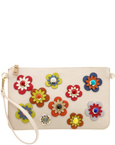 Urban Expressions Flower Embellished Pouch Clutch