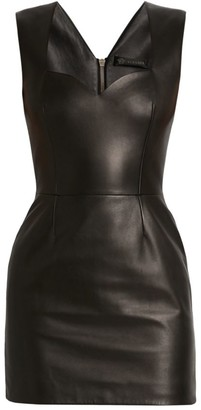 Versace Sweetheart Leather Mini Dress