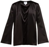 Galvan Collarless Satin Evening Jacket - Womens - Black