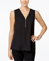 INC International Concepts Petite Zip-Front Knit-Back Top, Only at Macy's