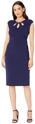 Maggy London Crepe Scuba Solid Sheath Dress (Majestic Navy) Women's Dress