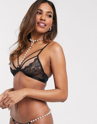 ASOS DESIGN Amaya lace & strapping soft bra with detachable pearl detail