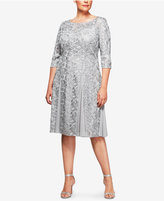 Alex Evenings Plus Size Embroidered A-Line Dress