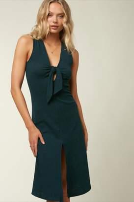 Roxy Deep-Green Tie-Front Dress