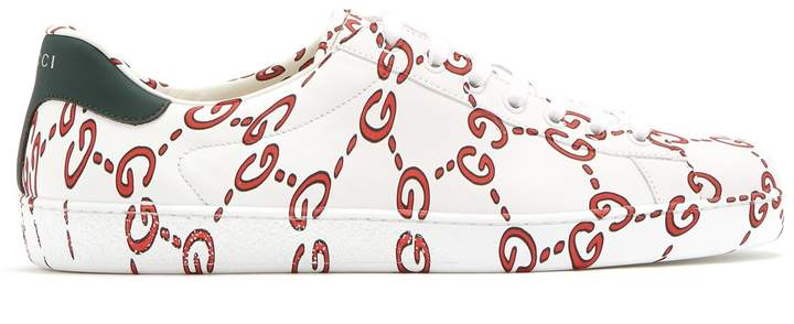 Gucci New Ace GG low-top leather trainers