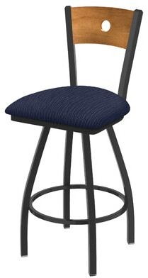 "Holland Bar Stool Voltaire 25"" Swivel Bar Stool Base Finish: Pewter, Back Finish: Medium Maple, Upholstery: Graph Anchor"