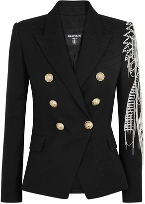 Balmain Black embellished metallic-weave blazer
