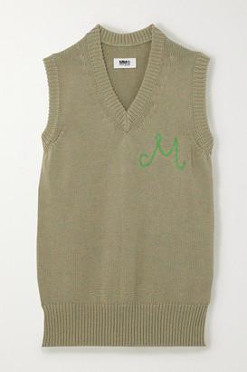 MM6 MAISON MARGIELA Embroidered Cotton Mini Dress - Neutral