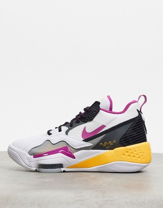 Jordan Nike Zoom 92 white grey and purple trainers