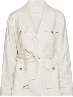 Frame Cargo Belted Linen-blend Drill Jacket
