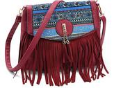 Angedanlia Women's Crossbodies RED - Red Geometric-Accent Fringe Tassel Crossbody Bag