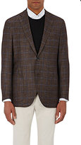 Luciano Barbera MEN'S PLAID TWO-BUTTON SPORTCOAT-BROWN SIZE 42