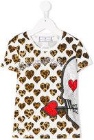 Philipp Plein Junior leopard heart print T-shirt