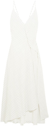 Victoria Beckham Asymmetric Pinstriped Silk Crepe De Chine Midi Dress