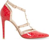 Dune Daenerys croc-embossed court shoes