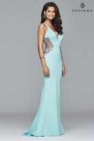 Faviana s7916 Long fitted neoprene dress with beading at side waist