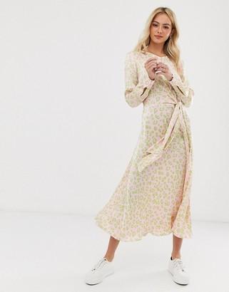 Ghost Mindy twisted front cheetah print midi dress