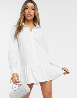 I SAW IT FIRST frill hem oversized shirt dress