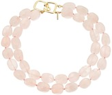 Kenneth Jay Lane 2 Row Rose Quartz Bead Necklace
