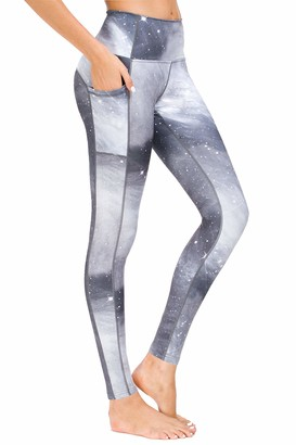 New Mincc Womens Galaxy Pants Printed High Waist Gym Workout Yoga Leggings with Pockets (Malachite Green L)